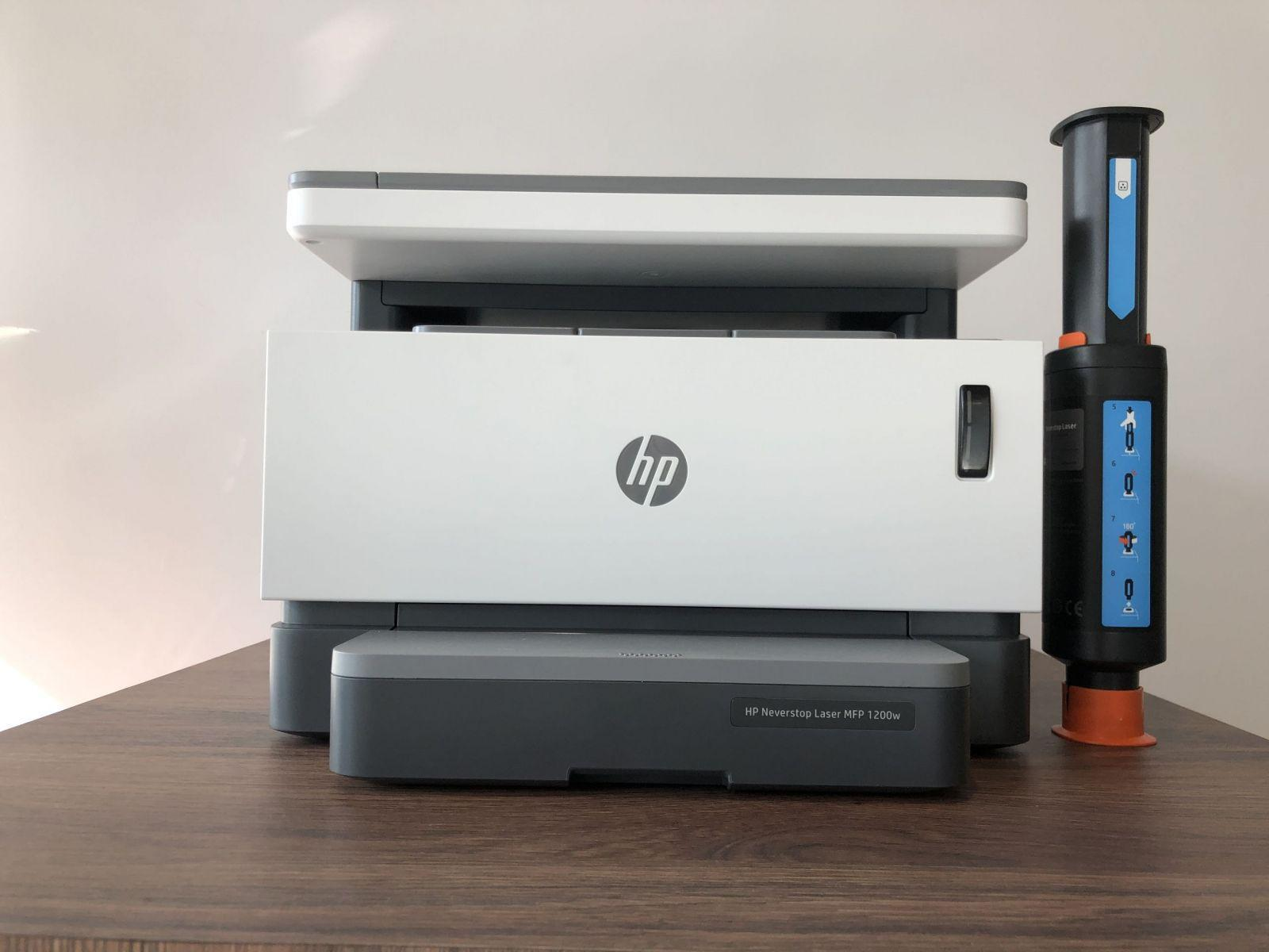 Print without cartridge.  Overview HP Neverstop Laser 1200w MFP Print without a cartridge.  Review of HP Neverstop Laser 1200w MFP