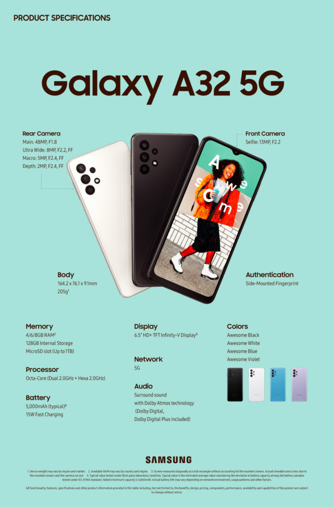 Samsung unveils Galaxy A32 5G, the company's most affordable 5G smartphone