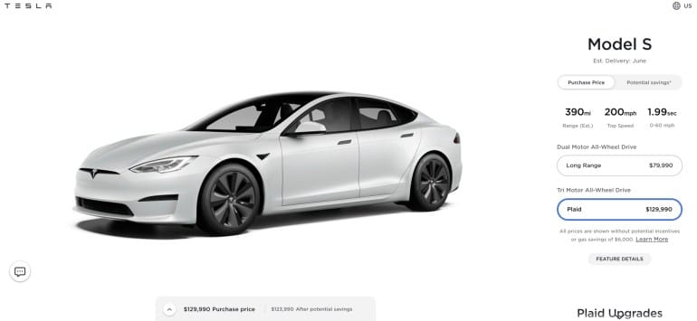 Tesla raised the price of the Model S Plaid just before the start of deliveries - it became more expensive by $ 10 thousand