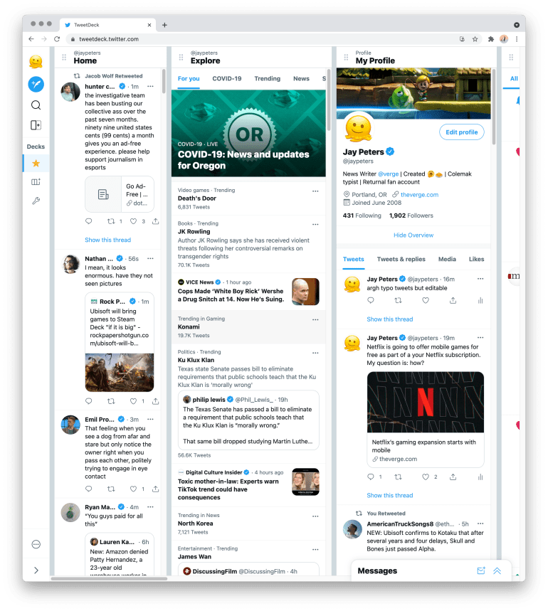 """Twitter Shows First Preview Of """"Big Redesign"""" TweetDeck"""